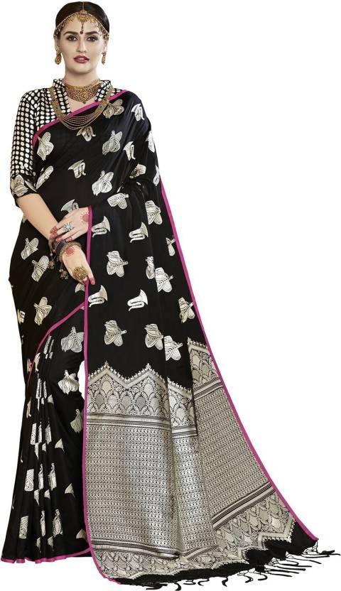 1659f86e13 Ratnavati Woven, Embellished Banarasi Silk, Banarasi Silk Saree (Black,  Silver)