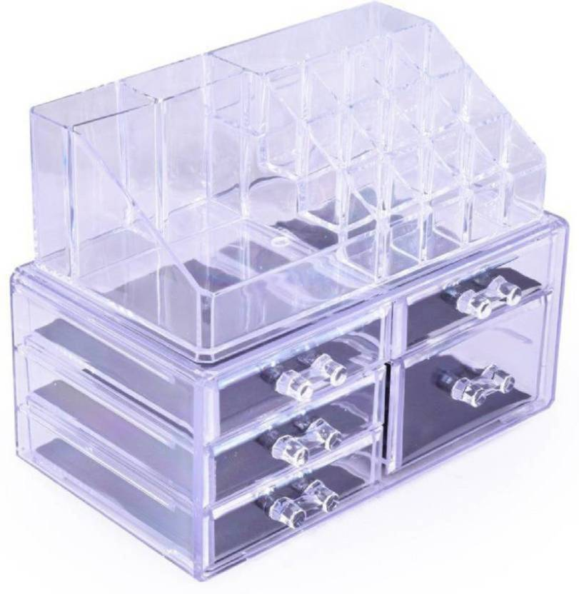 Bold Beautiful Acrylic Jewellery Cosmetic Storage Display Boxes Double Layer Beauty Vanity Jewellery Clear Acrylic Stand And Organizer Drawer