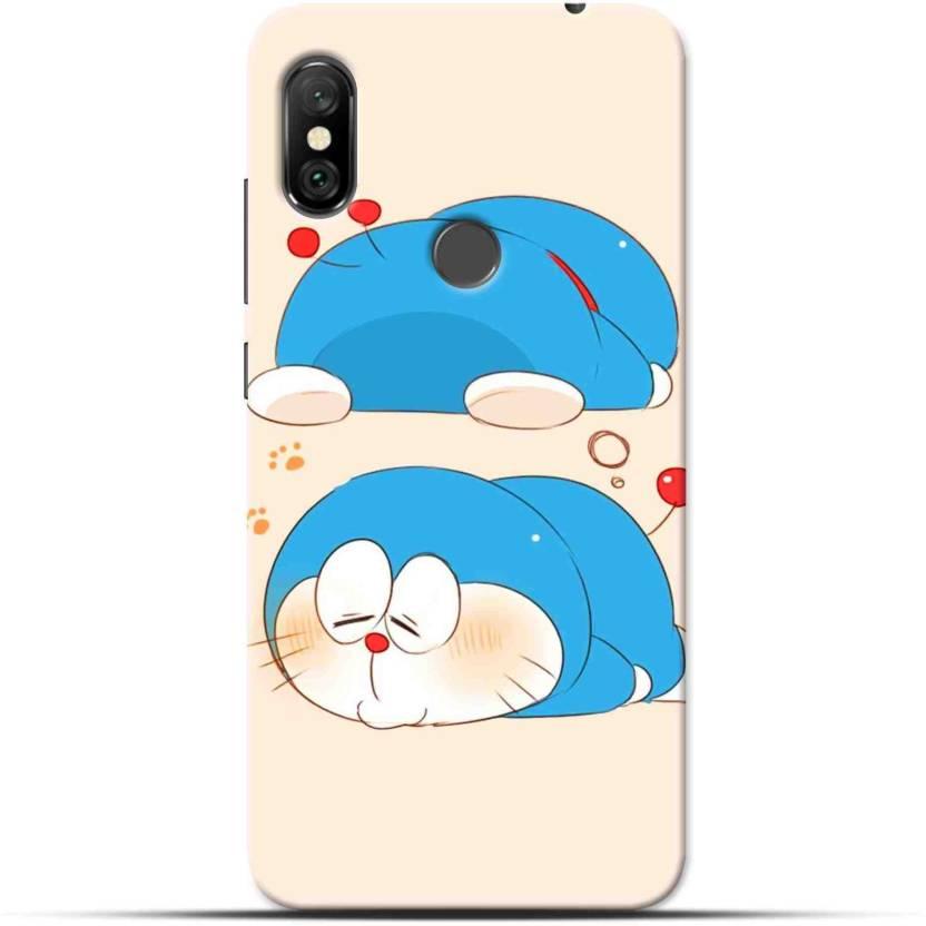 Saavre Back Cover for Doraemon,Racoon Dog,Shy Doraemon,Sky Blue,Cream for REDMI NOTE 6 PRO (Multicolor, Hard Case, Polycarbonate)
