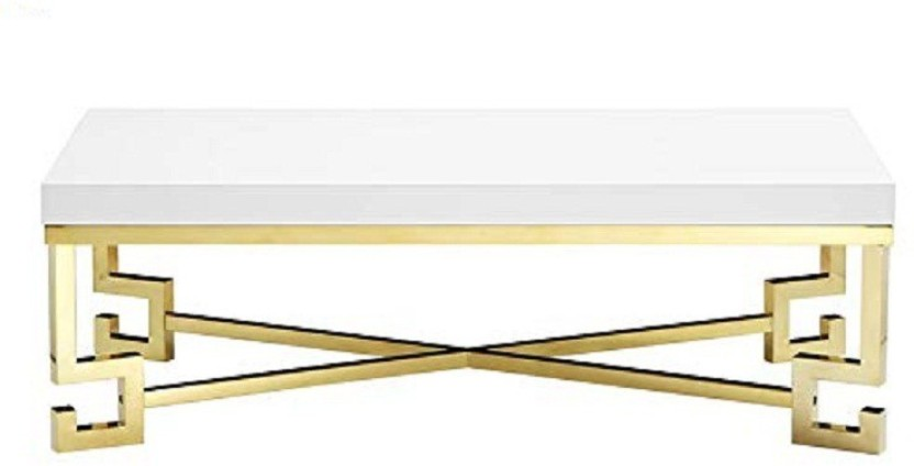 BARON HOMES (Box MS Golden Coating Center Table With White PU Paint TOP)  Chrome Centre Table, Coffee Table, Sofa Table Solid Wood Coffee Table  (Finish Color ...