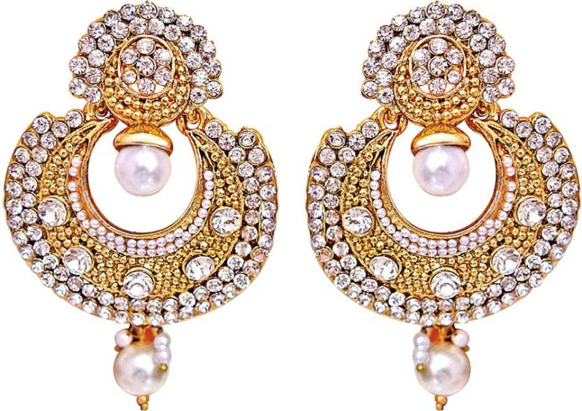 d5d409405f3bb Surat Diamond Traditional White Stone Gold-Plated Chandbali Earrings for  Women Metal Chandbali Earring