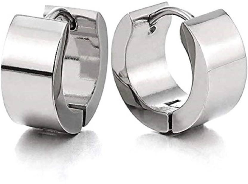 10d11b07f Flipkart.com - Buy GADGETSDEN 2pc Mens Womens Stainless Steel Classic Plain  Flat Huggie Hoop Bali Ear Helix/Lobe/Cartilage Stud Earrings Stainless  Steel ...