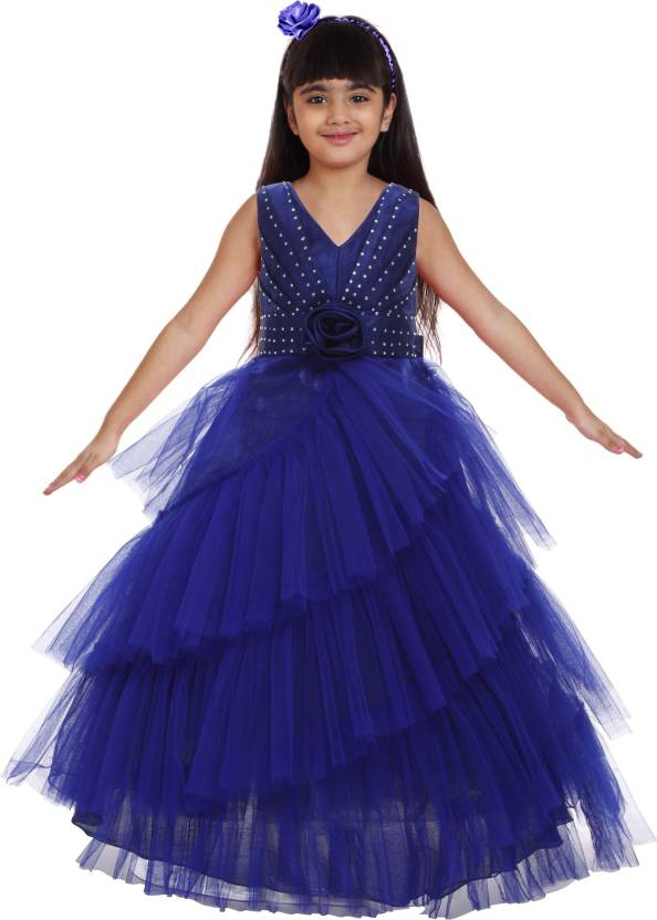 cdbbee5319 Saba Garments Girls Maxi/Full Length Party Dress (Dark Blue, Sleeveless)