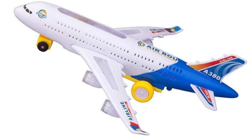 KIDS ELECTRIC LIGHT /& MUSIC DOUBLE AIR PLANE AIRBUS A380//747 BUMP AND GO TOY