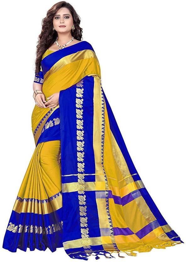 ce8253376 Sweez Fashion Printed Fashion Cotton Silk Saree (Yellow