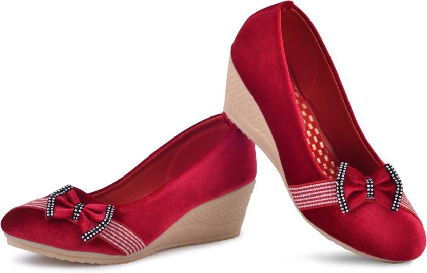 59265b42184b PIPILIKA Queen 113.325 Red Trendy High Heel Wedges Belly Shoe for Women  Bellies For Women (Multicolor)
