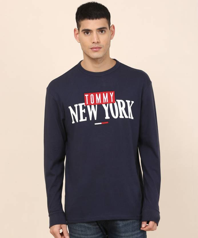 54da8297 Tommy Hilfiger Printed Men's Round Neck Blue T-Shirt - Buy Tommy ...
