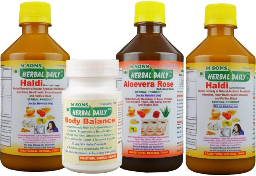 M SONS Herbal daily Anti-Ulcer pack- 2 Haldi  1 Alovera Rose