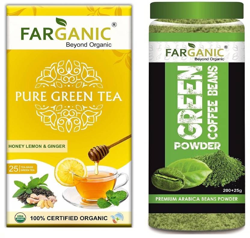 Farganic Green Coffee Beans Powder 200 With Lemon Ginger Honey 25 Tea Bags