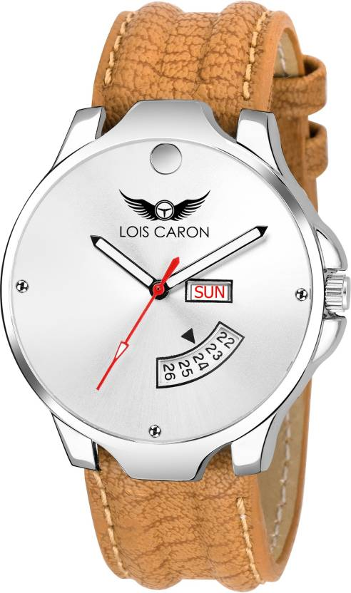 fe0b3f87b76 Lois Caron LCS-8072 WHITE DIAL DAY   DATE FUNCTIONING Analog Watch - For Men