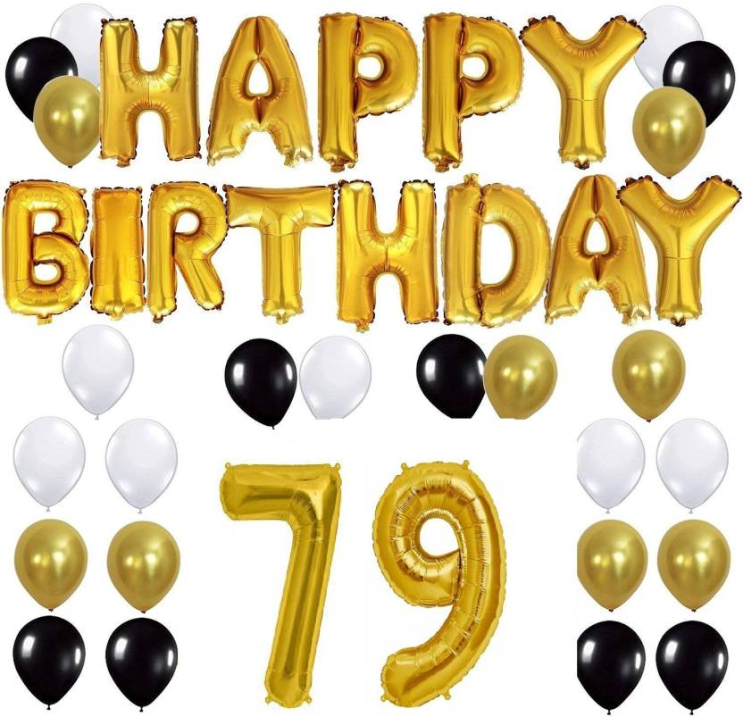 Theme My Party Happy Birthday Gold Letter Foil Black White Balloons 50 10