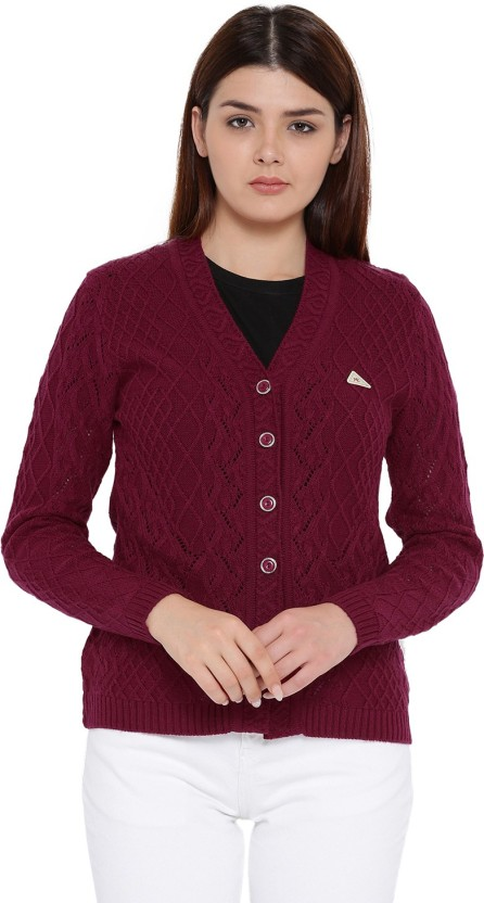 Monte Carlo Women Button Solid Cardigan Price in India , Buy