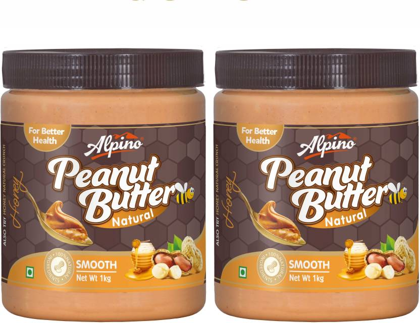 Alpino Natural Honey Peanut Butter Smooth 2kg (1kg Pack Of 2