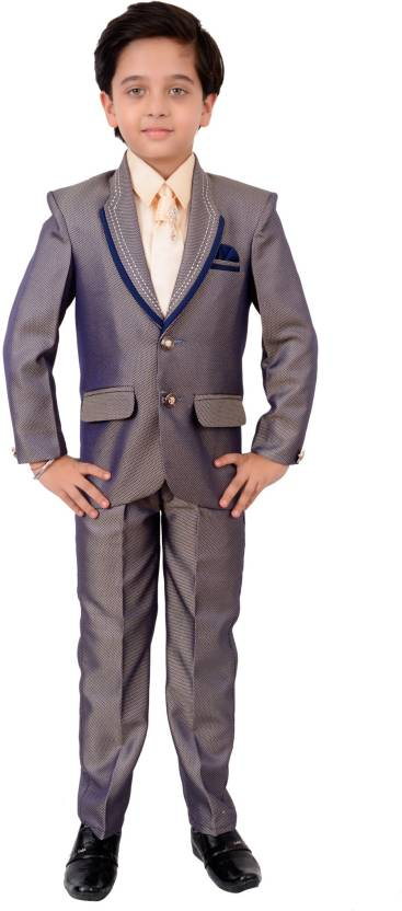 cf4313653 Arshia Fashions Boys Coat Suit Set with Shirt Pant and Tie Self ...