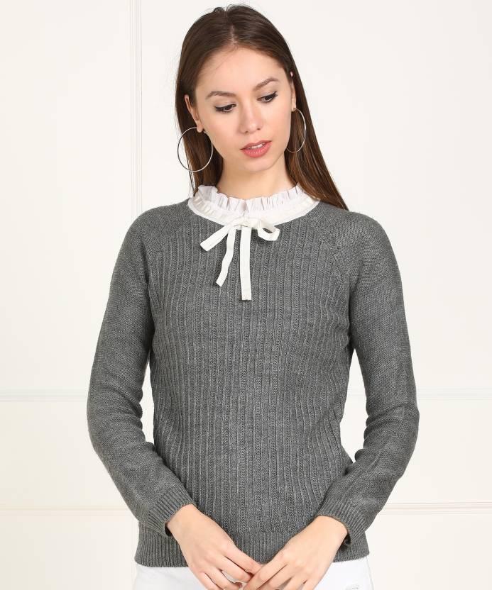 3248f8b223 Numero Uno Striped High Neck Casual Women s Grey Sweater - Buy Numero Uno  Striped High Neck Casual Women s Grey Sweater Online at Best Prices in India  ...