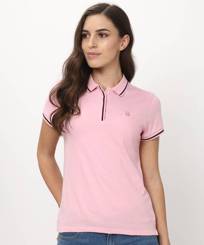 9f8963404 United Colors of Benetton Solid Women s Polo Neck Pink T-Shirt - Buy United  Colors of Benetton Solid Women s Polo Neck Pink T-Shirt Online at Best  Prices in ...