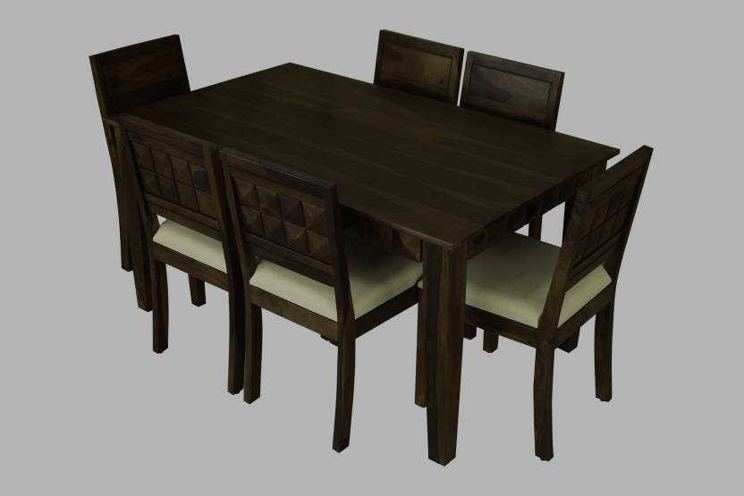 a299e52a41930 Induscraft Diamond Solid Wood 6 Seater Dining Set (Finish Color - Brown)