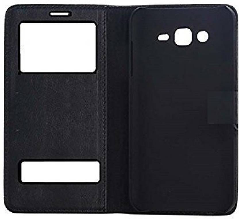 Marshland Flip Cover for Samsung Galaxy J7 Prime (Black, Dual Protection, Artificial Leather)