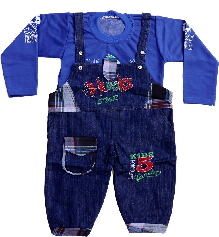 3f3e8d50e Smart Kids Dungaree For Boy's & Girl's Casual Embroidered Denim (Blue, Pack  of 1)