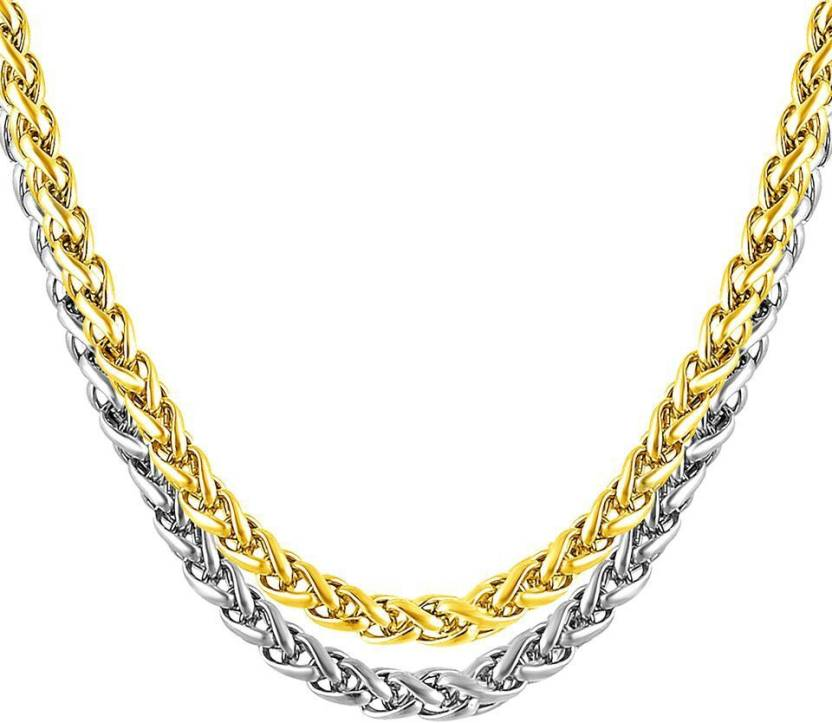 d7645f2a667 Meenaz Men Jewellery Valentine Silver Gold Rope Combo Necklace Chain for Boys  Men Husband Boys Boyfriend