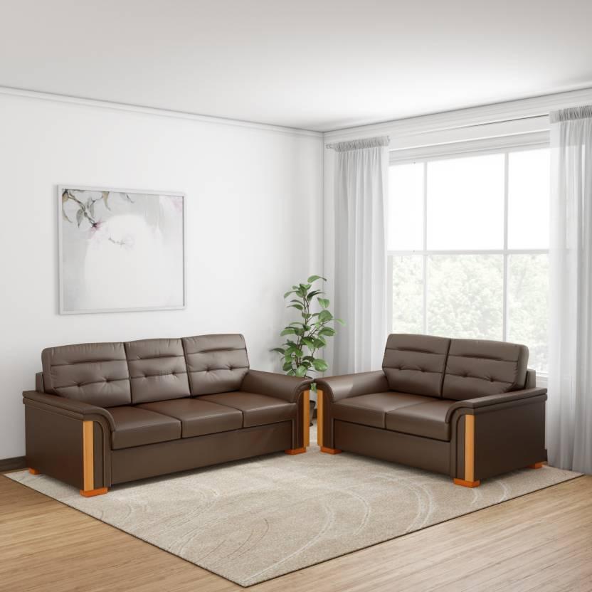 Kurlon Flory Leatherette 3 + 2 Brown Sofa Set