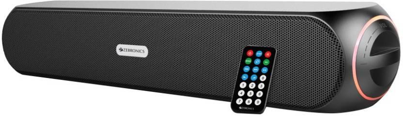 Zebronics WonderBar Portable Mobile/Tablet Speaker Black, Stereo Channel