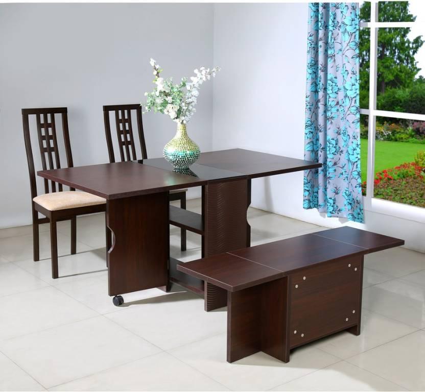 @home by Nilkamal Gypsy Engineered Wood 4 Seater Dining Set Finish Color   Dark Walnut