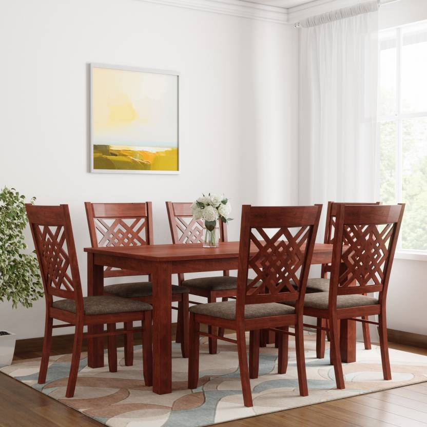 Woodness Solid Wood 6 Seater Dining Set Finish Color   Mahogany