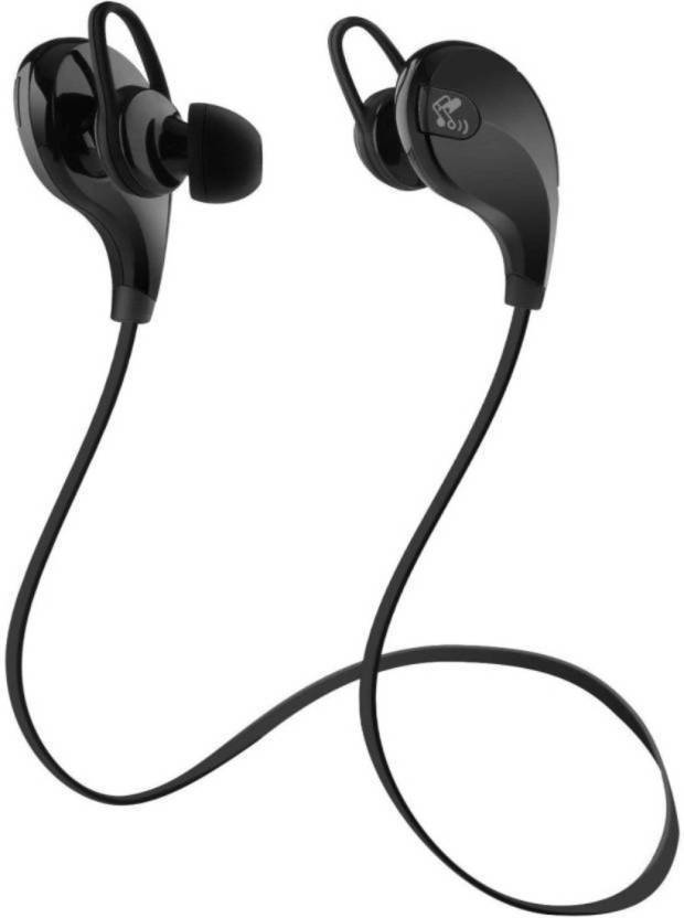 LaunchFort Portable Bluetooth Headphone Jogger Black Bluetooth Headset with Mic Black, In the Ear