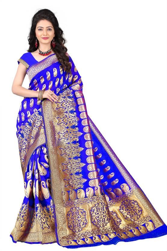 Jay Fashion Self Design Kanjivaram Silk Saree  (Gold, Blue)