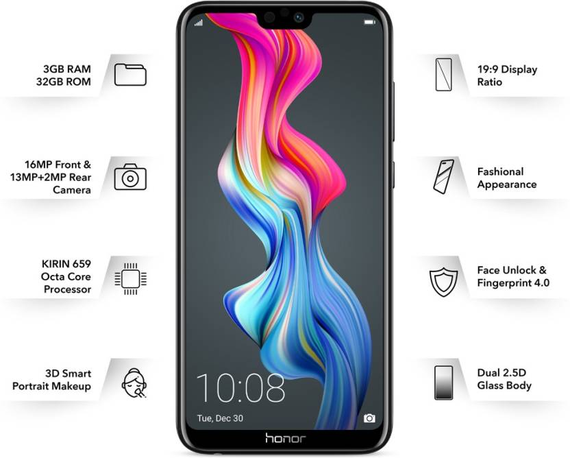 Honor 9N  Midnight Black, 32  GB    3  GB RAM  Honor Mobiles