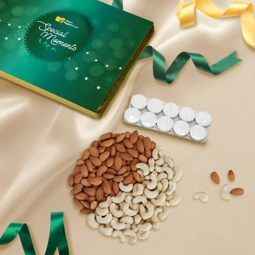 Dry Fruits Gift Box ( Almonds, Cashews - 100g each) by Flipkart Supermart Special Moments with 10 pcs Tealight Candles