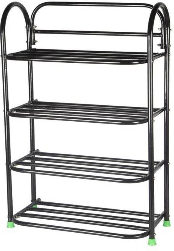 Patelraj Metal Collapsible Shoe Stand  (Black, 4 Shelves)