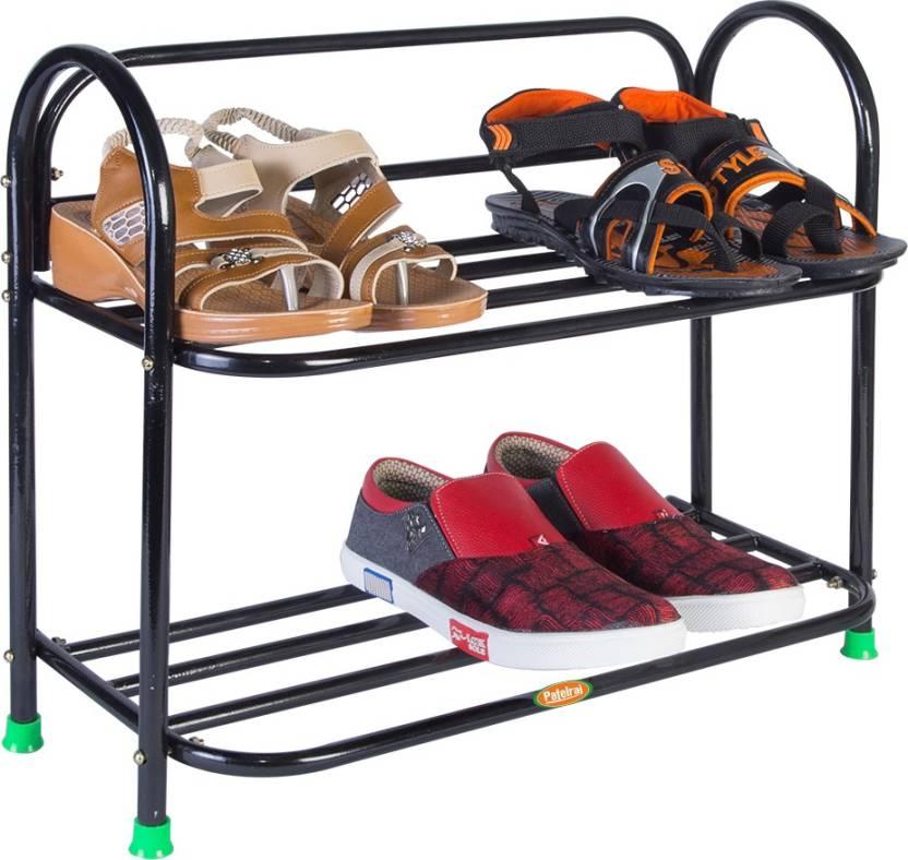Patelraj Metal Shoe Stand Black, 2 Shelves