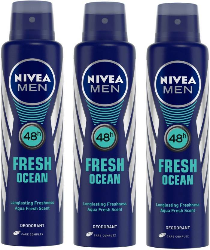 For 284/-(33% Off) Nivea Men Fresh Ocean Deodorant Combo Body Spray - For Men  (450 ml, Pack of 3) at Snapdeal