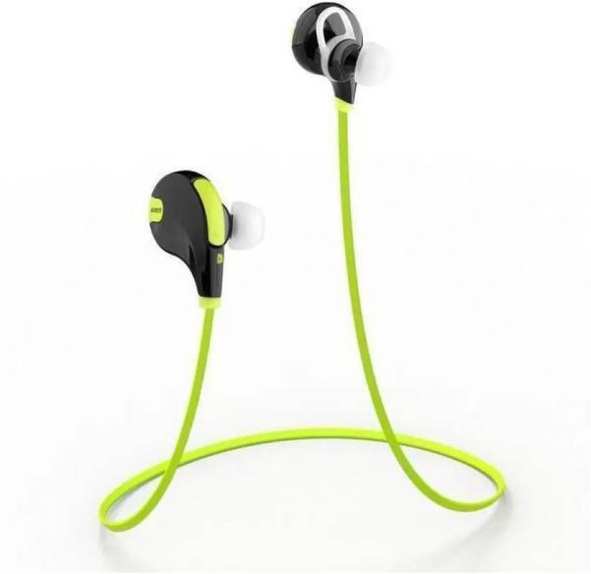 mindfied QY7 Jogger Headphone Bluetooth Headset with Mic Bluetooth Headset Green, On the Ear