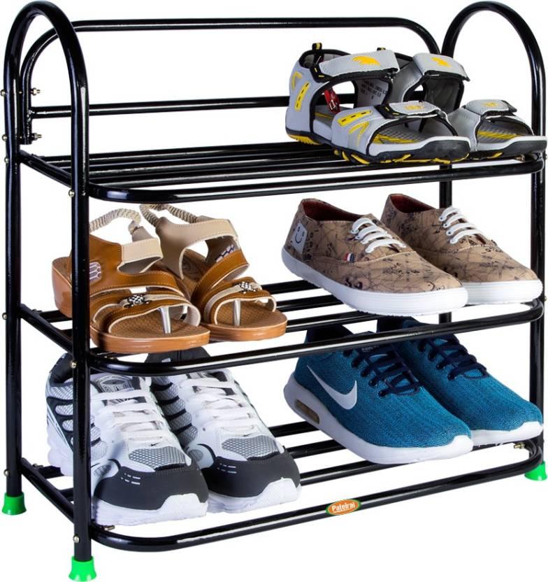 Patelraj Metal Shoe Stand  (Black, 3 Shelves)