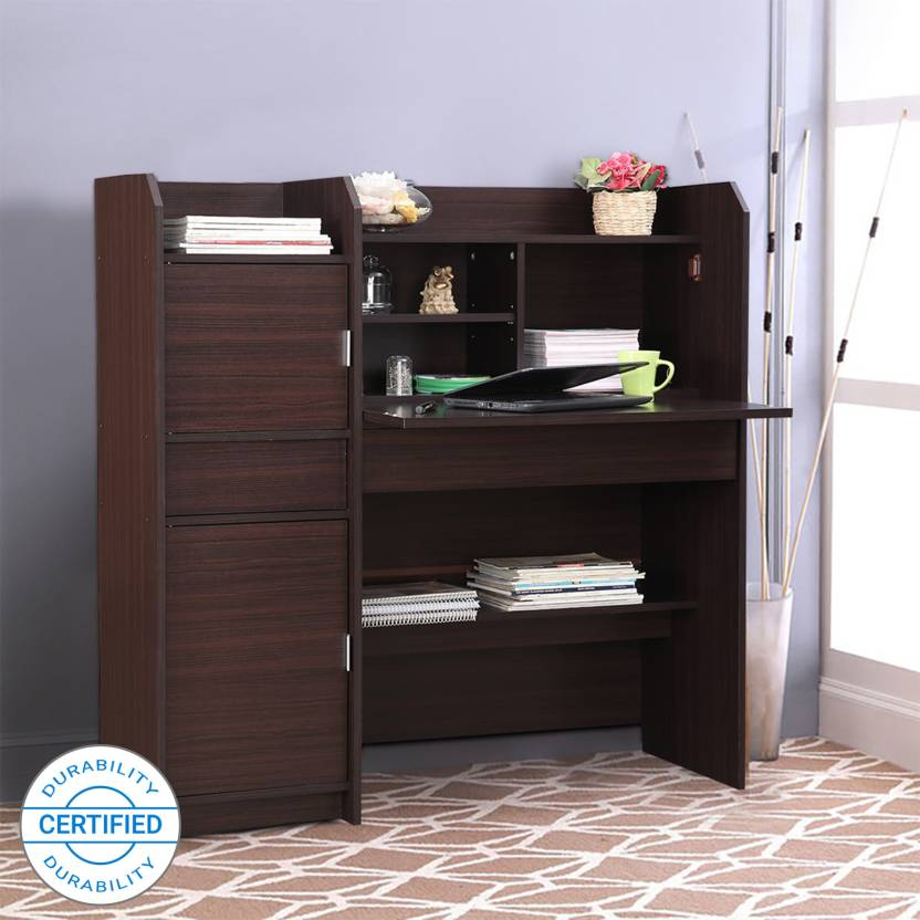 HomeTown Engineered Wood Study Table Free Standing, Finish Color   Walnut