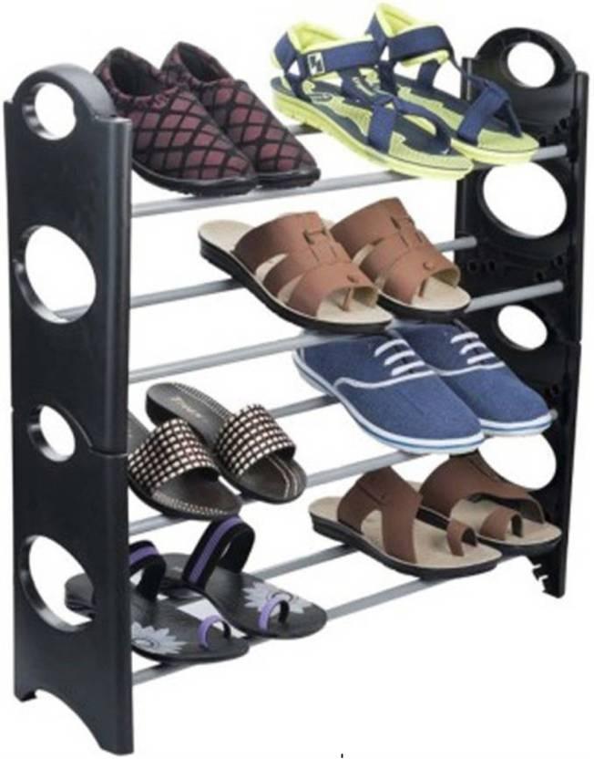 Xcreet Metal Shoe Rack Silver, 4 Shelves