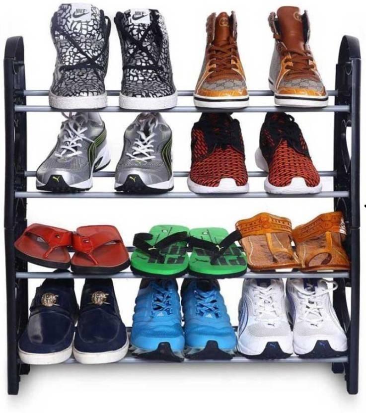 Xcreet Plastic Shoe Rack Black, 4 Shelves
