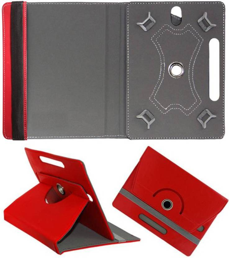 Cutesy Flip Cover for Micromax Canvas Tab P701 4G Voice Calling Red, Cases with Holder