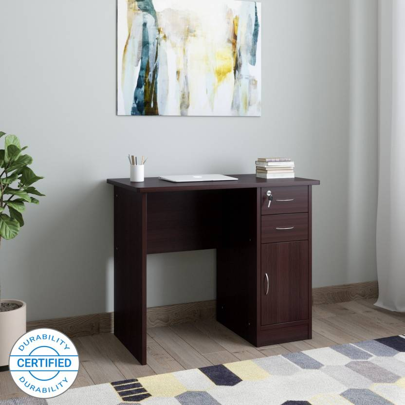 HomeTown Engineered Wood Study Table Free Standing, Finish Color   Dark Walnut