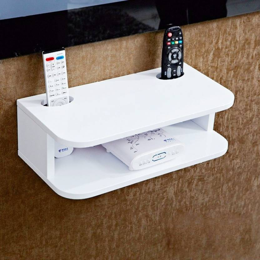 home sparkles New look and new design white set top box stand and remote holder stand MDF  Medium Density Fiber  Wall Shelf Number of Shelves   2, Whi