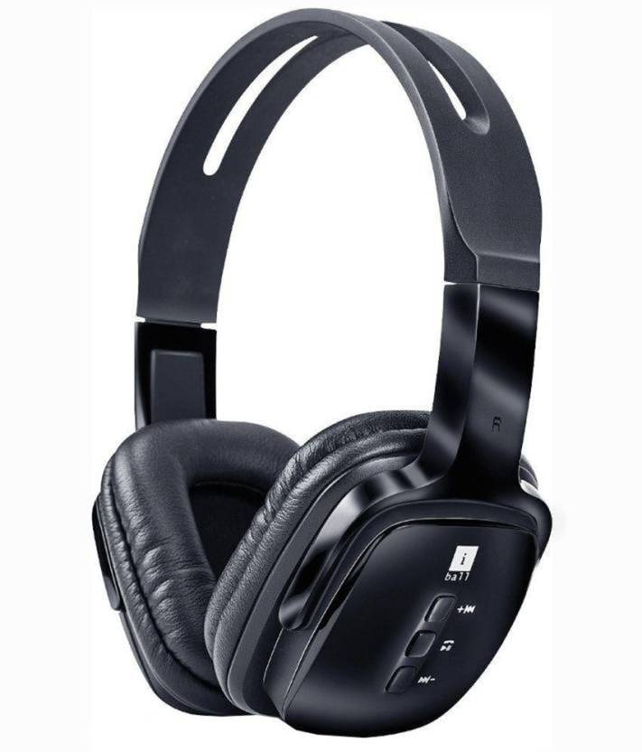 iball Pulse BT4 Neckband Wireless Bluetooth Headphones With Mic Wired Headset Black, Wired over the head