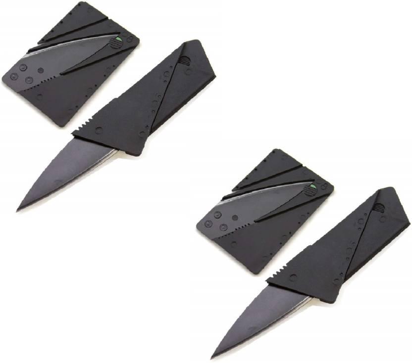 Gabbar ® Credit Card Pocket Knife Multifunctional Outdoor Survival Tool Pack Of 2 Pocket Knife, Campers Knife