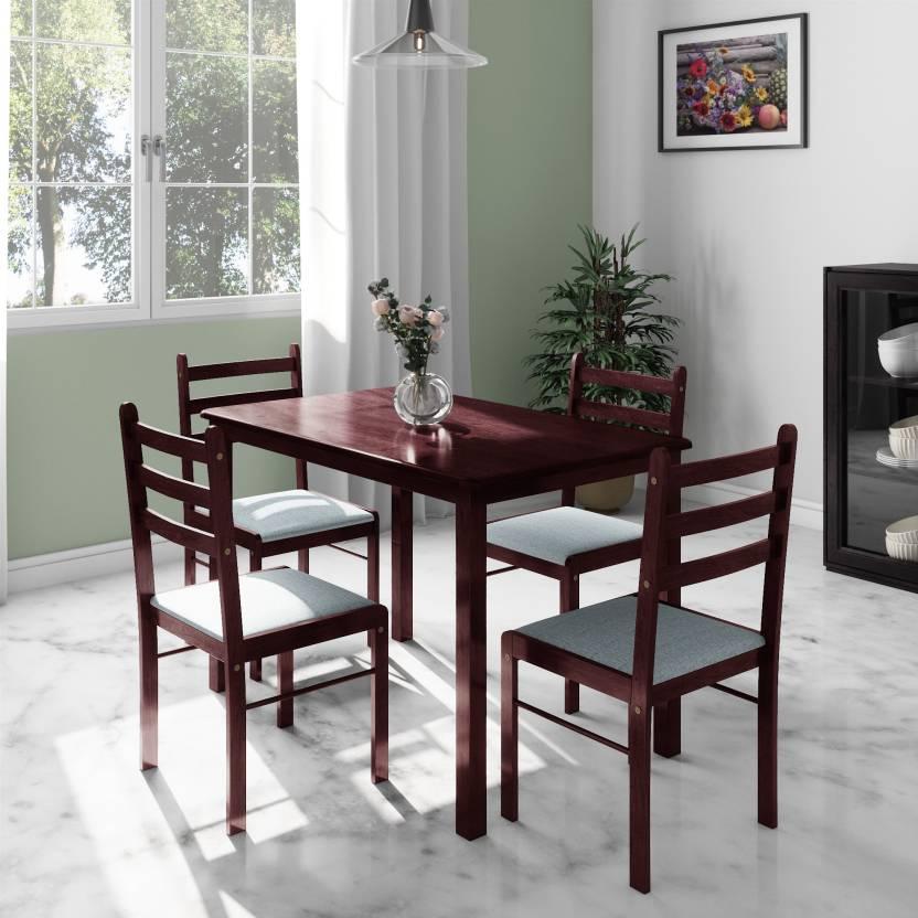 Flipkart Perfect Homes Capri Engineered Wood 4 Seater Dining Set Finish Color   Walnut