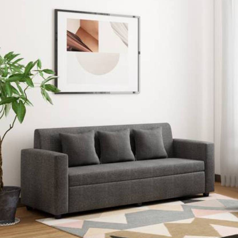 Bharat Lifestyle Lexus Fabric 3 Seater Sofa Finish Color   Dark Grey
