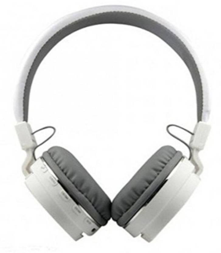 KHETESWARA SH12 Foldable On ear Stereo Bluetooth Headphones Bluetooth Headphone White, Over the Ear