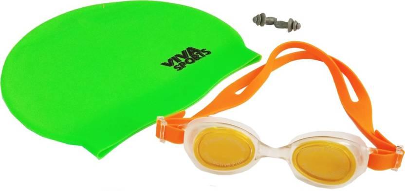 Viva Sports Sports Swimming Set  Cap + Goggles + Earplugs  Swimming Kit