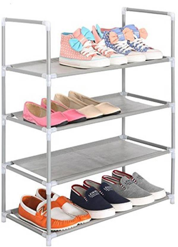 Caxon Open 4 Layer Classic Multipurpose Metal Collapsible Shoe Stand Silver, 4 Shelves